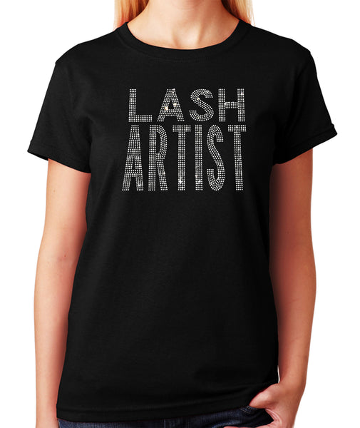 Women's / Unisex T-Shirt with Lash Artist in Rhinestones