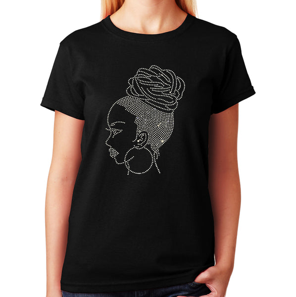 Women's / Unisex T-Shirt with Latina Woman in Rhinestones