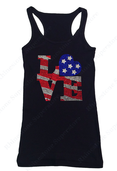 Womens T-shirt with Color Love 4th of July in Rhinestones