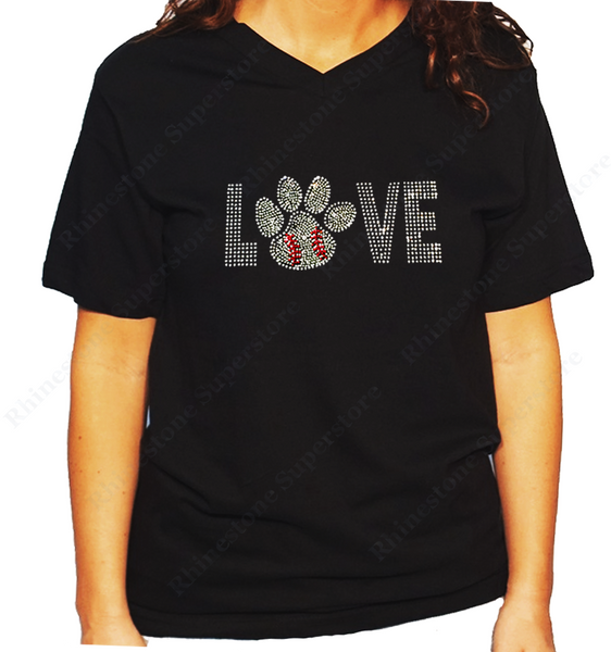 Women Unisex T-Shirt with Love Baseball Paw in Rhinestones V Neck