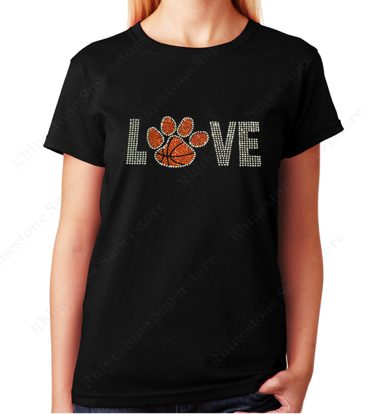 Women Unisex T-Shirt with Love Basketball Paw in Rhinestones Crew Neck