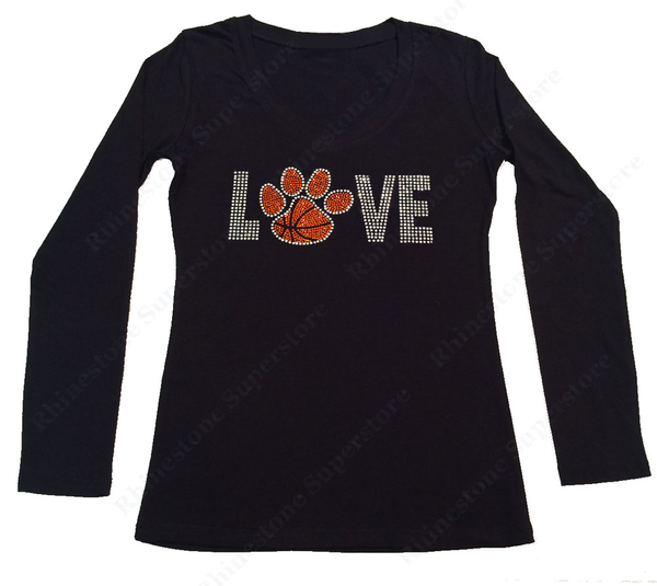 Womens T-shirt with Love Basketball Paw in Rhinestones