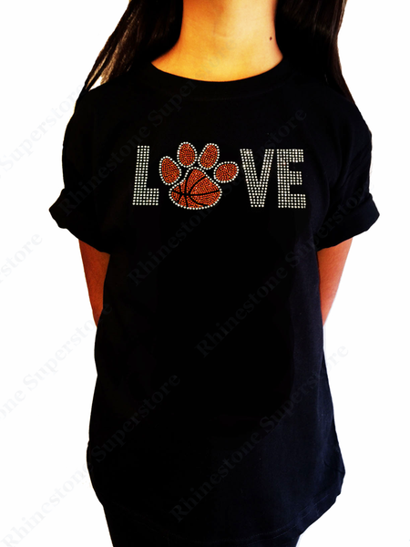 "Girls Rhinestone T-Shirt "" Love Basketball Paw "" Size 3 to 14 Available, Sports Bling"