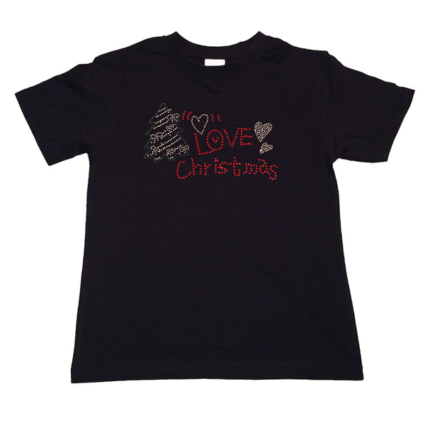 "Girls Rhinestone T-Shirt "" Love Christmas with Tree in Rhinestones "" Kids Size 3 to 14 Available"