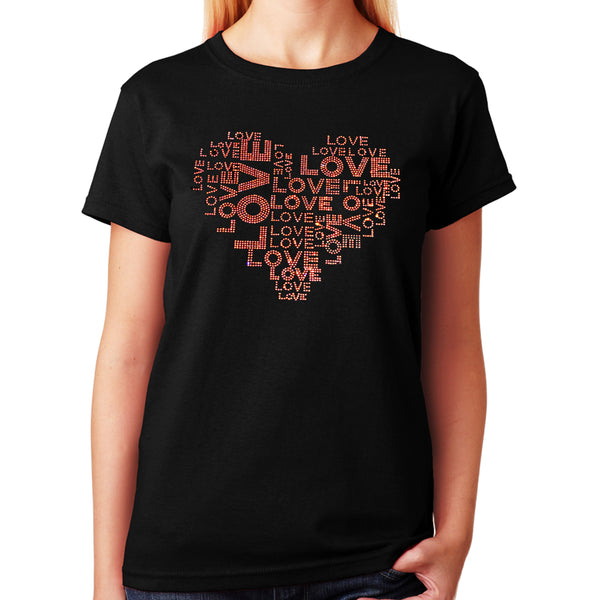 Women's / Unisex T-Shirt with Love Collage in Pink AB