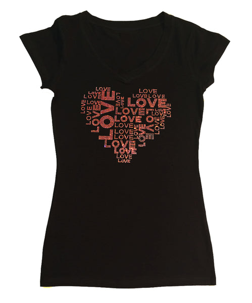 Womens T-shirt with Love Collage in Pink AB