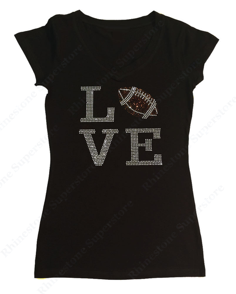 Womens T-shirt with Love Football in Rhinestones