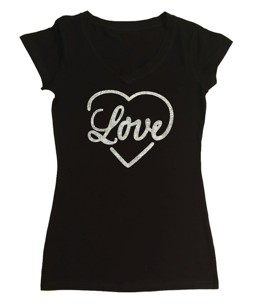 Womens T-shirt with Love Heart in AB