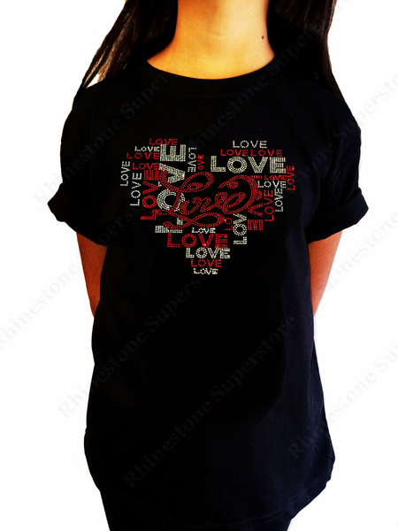 "Girls Rhinestone & Rhinestud T-Shirt "" Love Heart "" Size 3 to 14 Available"
