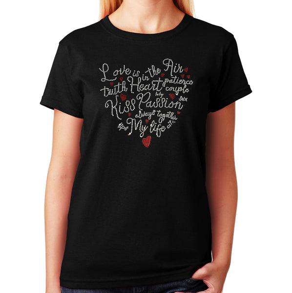 Women's / Unisex T-Shirt with Love Saying Heart in Rhinestones
