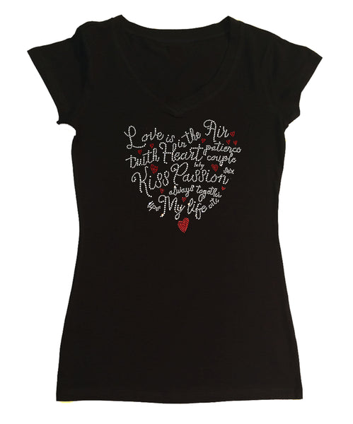 Womens T-shirt with Love Saying Heart in Rhinestones