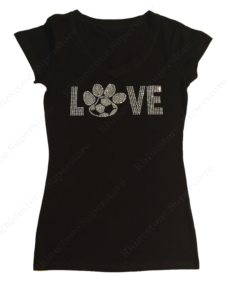 Womens T-shirt with Love Soccer Paw in Rhinestones