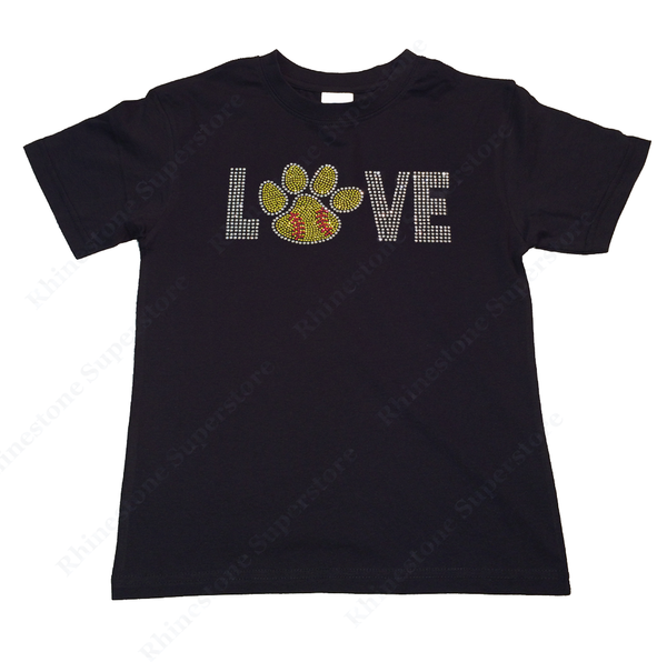 "Girls Rhinestone T-Shirt "" Love Softball Paw "" Size 3 to 14 Available, Sports Bling"