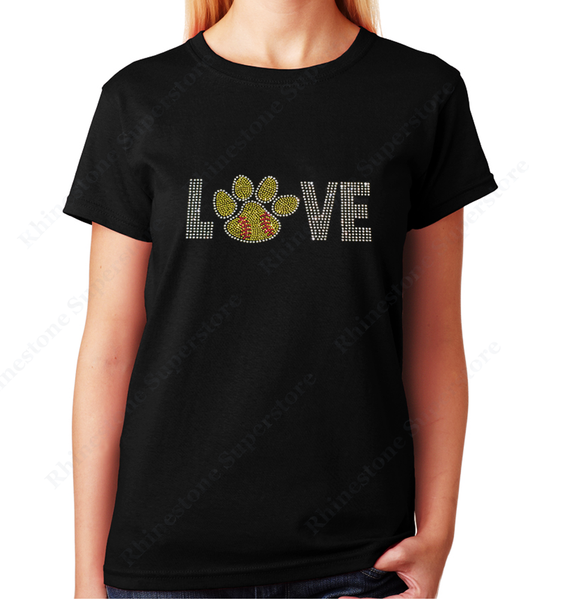 Women Unisex T-Shirt with Love Softball Paw in Rhinestones Crew Neck