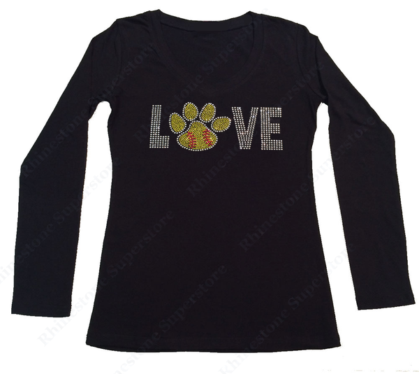 Womens T-shirt with Love Softball Paw in Rhinestones