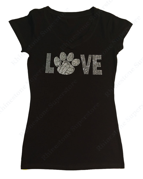 Womens T-shirt with Love Volleyball Paw in Rhinestones