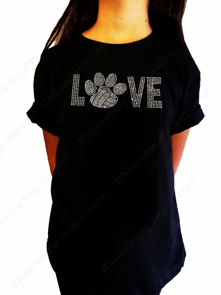 "Girls Rhinestone T-Shirt "" Love Volleyball Paw "" Size 3 to 14 Available, Sports Bling"