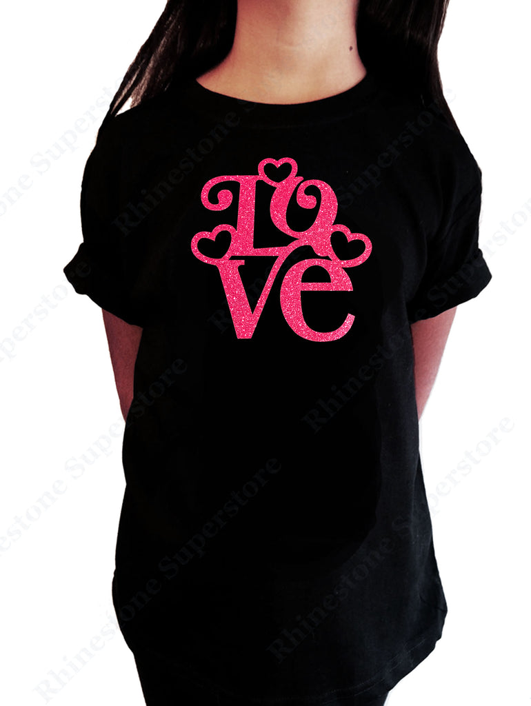 Love with Hearts in Pink Glitters girls