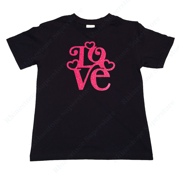 "Girls Rhinestone T-Shirt "" Love with Hearts in Pink Glitters "" Kids Size 3 to 14 Available"