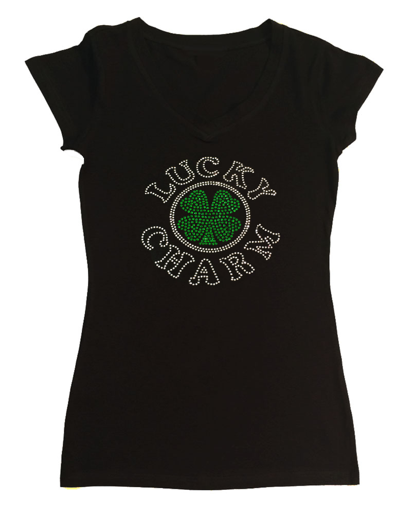 Womens T-shirt with Lucky Charm Clover St. Patrick's Day in Rhinestones