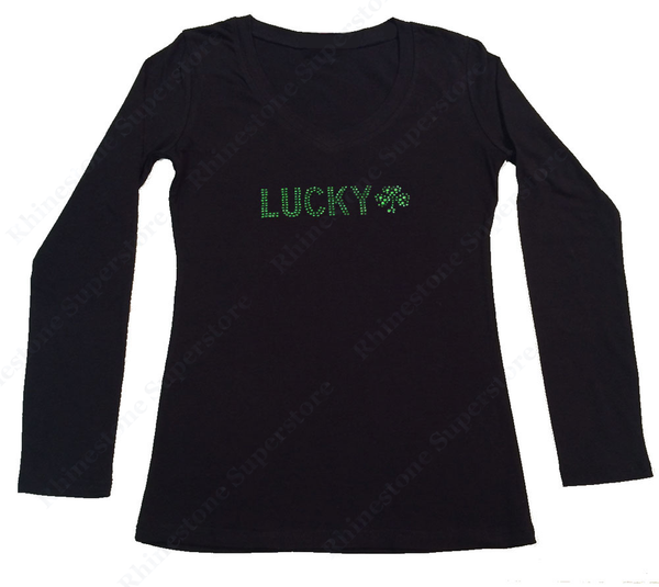 Womens T-shirt with Lucky Clover in Rhinestones