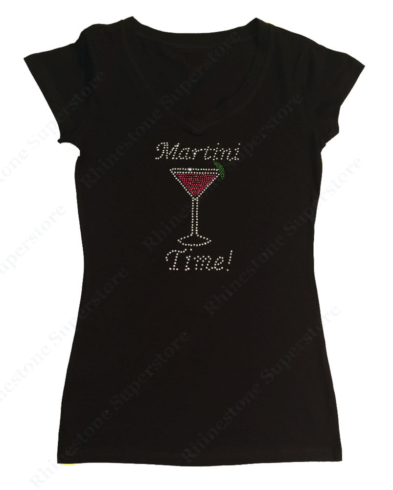 Womens T-shirt with Martini Time in Rhinestones