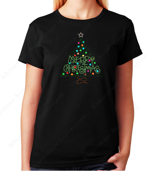 Women's / Unisex T-Shirt with Merry Christmas Green Tree in Rhinestones