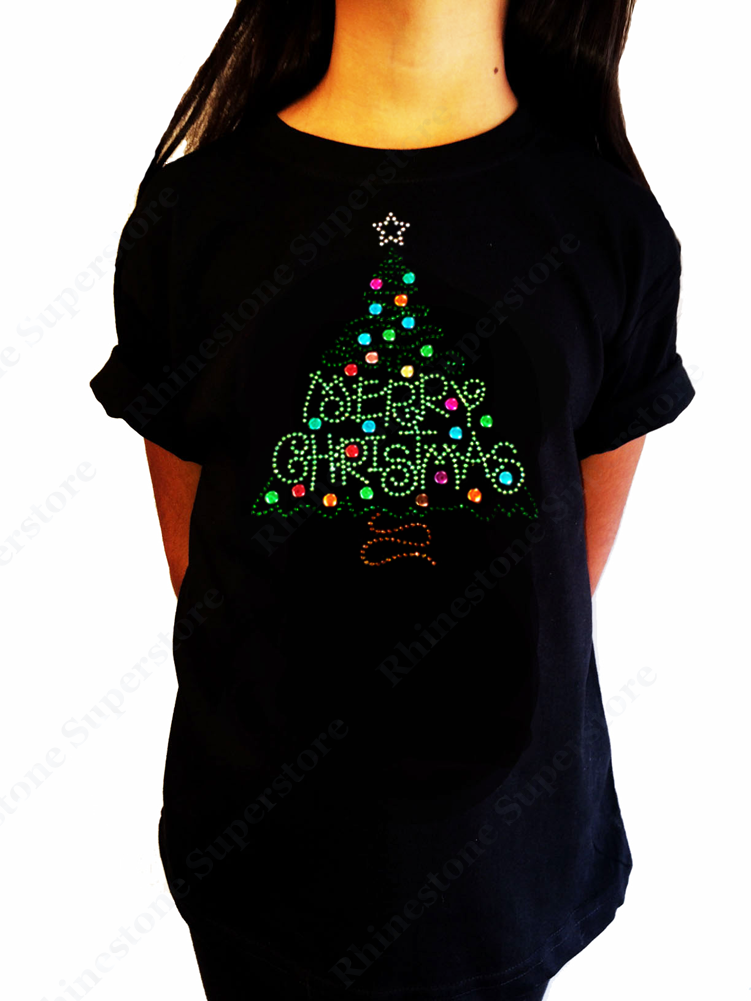 "Girls Rhinestone T-Shirt "" Merry Christmas Green Tree "" Size 3 to 14 Available"