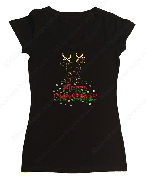 Womens T-shirt with Merry Christmas Rudolph the Red Nosed Reindeer in Rhinestones