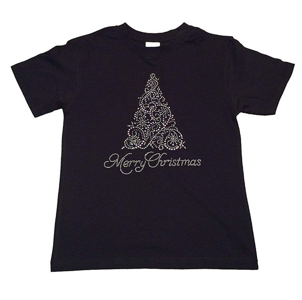 "Girls Rhinestone T-Shirt "" Merry Christmas Tree in Crystal and Pearl "" Size 3 to 14 Available"