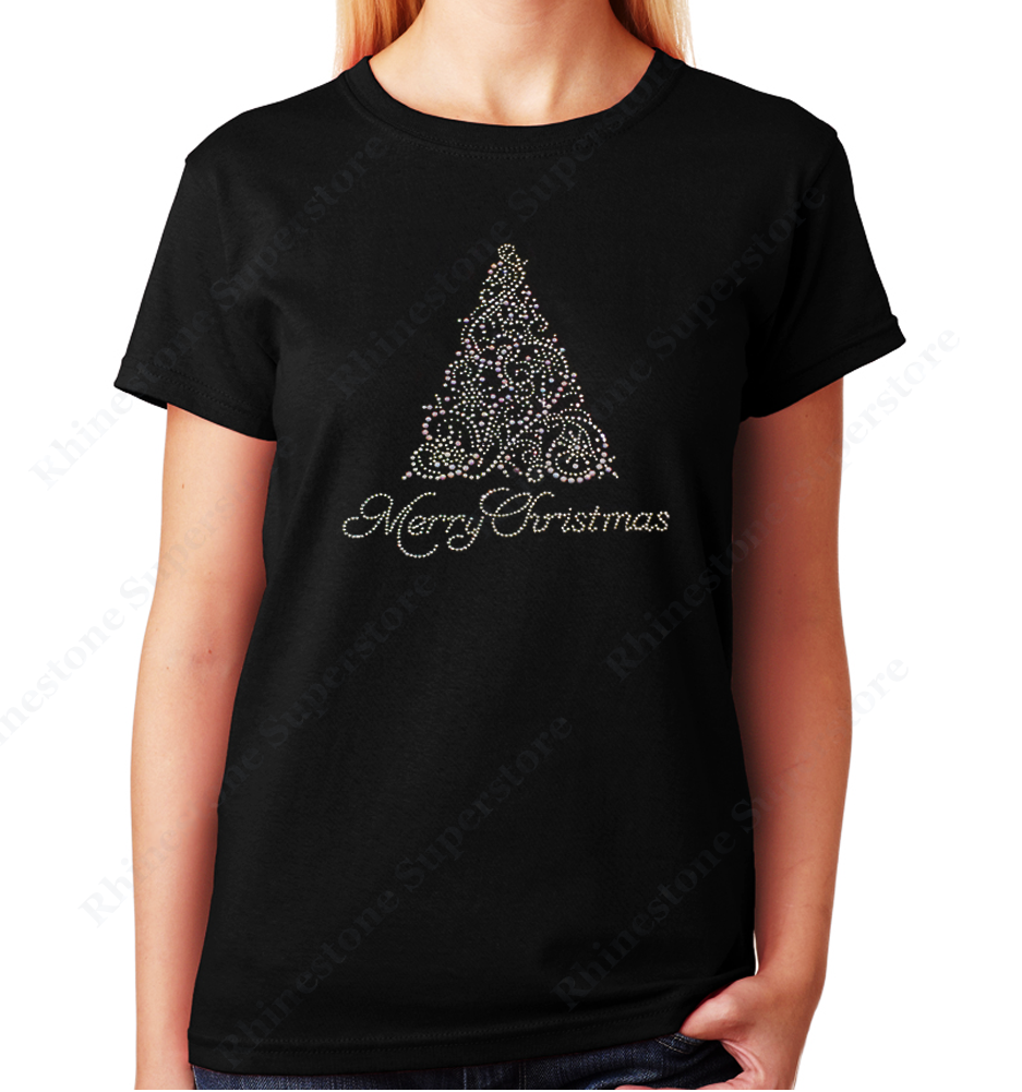 Women Unisex T-Shirt with Merry Christmas Tree in Crystal and Pearl in Rhinestones Crew Neck