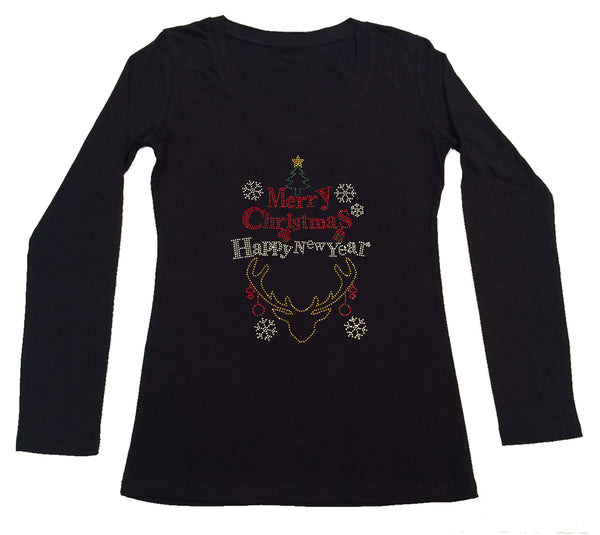 Womens T-shirt with Merry Christmas and Happy New Year in Rhinestones