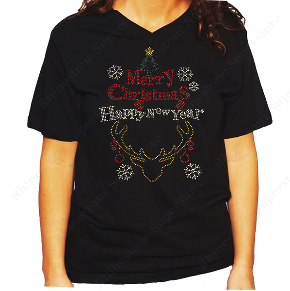 Women's / Unisex T-Shirt with Merry Christmas and Happy New Year in Rhinestones