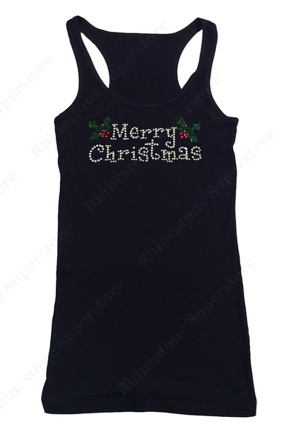 Womens T-shirt with Merry Christmas in Rhinestones