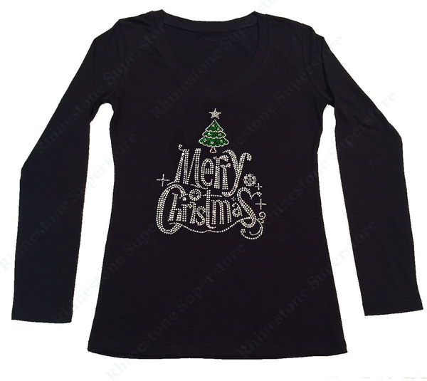 Womens T-shirt with Merry Christmas with Christmas Tree in Rhinestones