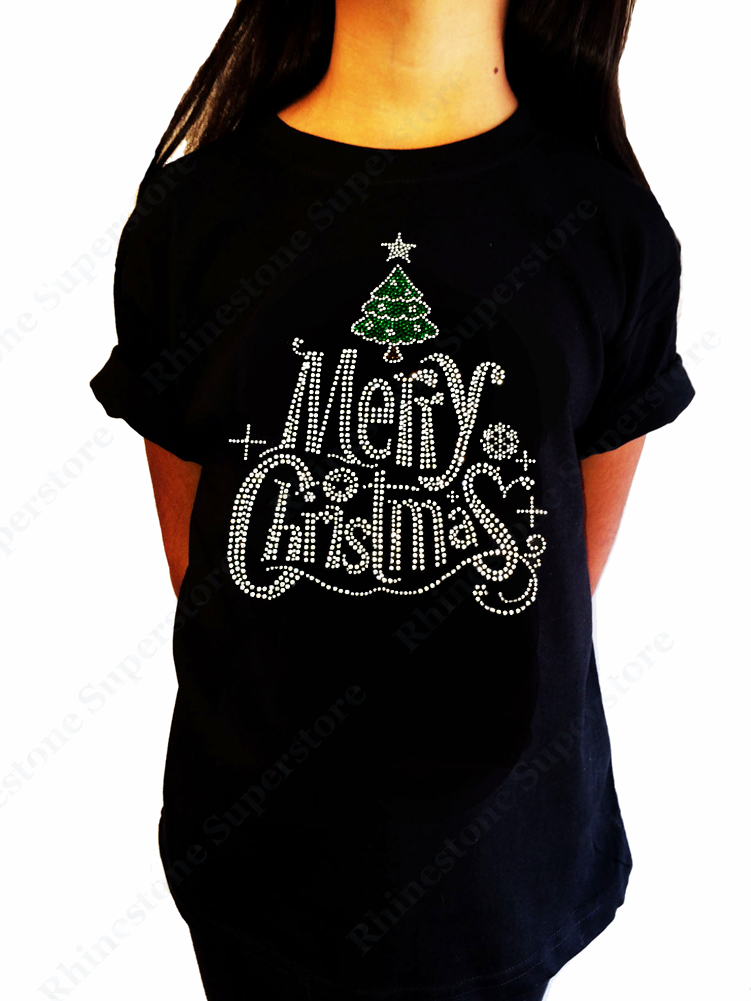 "Girls Rhinestone T-Shirt "" Merry Christmas with Christmas Tree "" Size 3 to 14 Available"