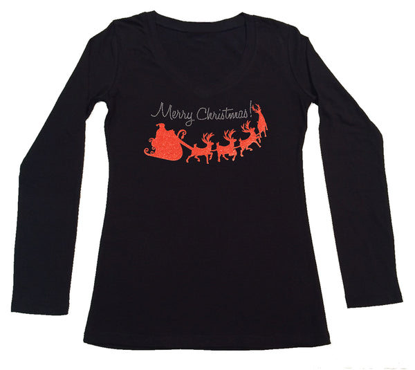 Womens T-shirt with Merry Christmas with Red Santa Sleigh in Glitters and Rhinestones