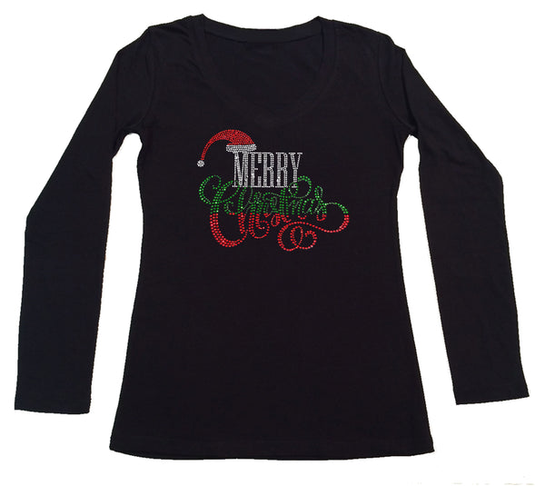 Womens T-shirt with Merry Christmas with Santa Hat in Rhinestones