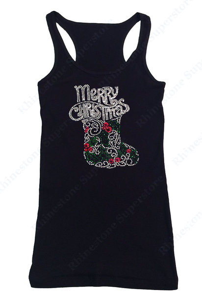 Womens T-shirt with Merry Christmas with Stocking in Rhinestones