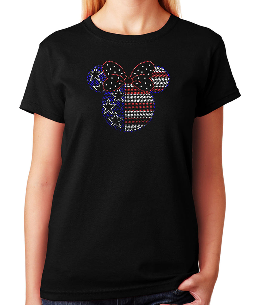 Women's / Unisex T-Shirt with Minnie Head 4th of July in Rhinestones