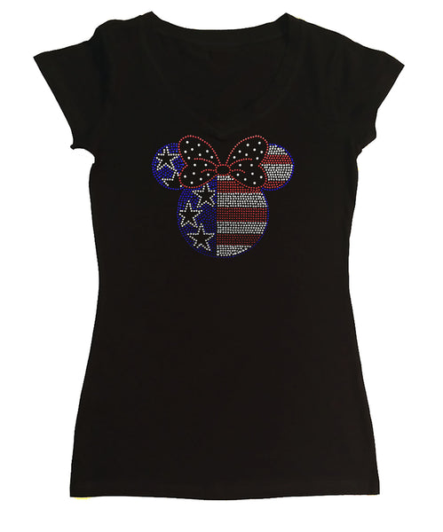 Womens T-shirt with Minnie Head 4th of July in Rhinestones