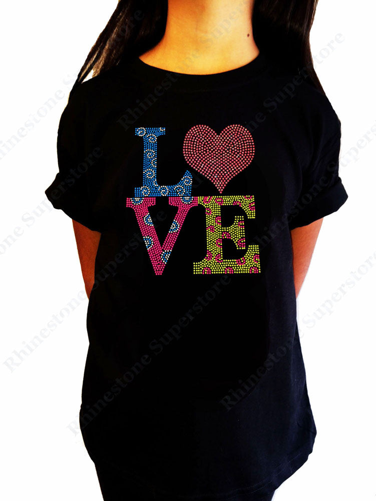 "Girls Rhinestone T-Shirt "" Multi-Color Love "" Kids Size 3 to 14 Available"