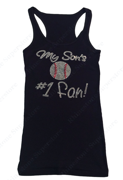 Womens T-shirt with My Son's #1 Fan Baseball! in Rhinestones