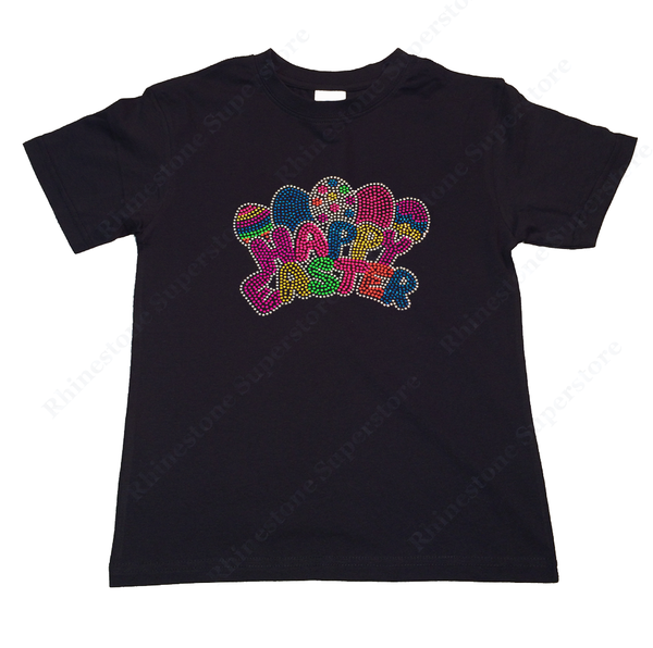 "Girls Rhinestone &  Rhinestud T-Shirt "" Neon Happy Easter Eggs "" Size 3 to 14 Available"