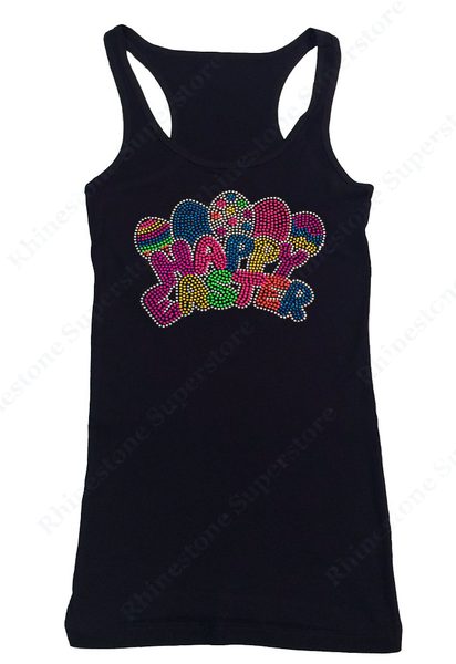 Womens T-shirt with Neon Happy Easter with Easter Eggs in Rhinestones and Rhinestuds