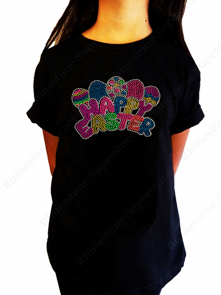 Girls Rhinestone &  Rhinestud T-Shirt Neon Happy Easter Eggs