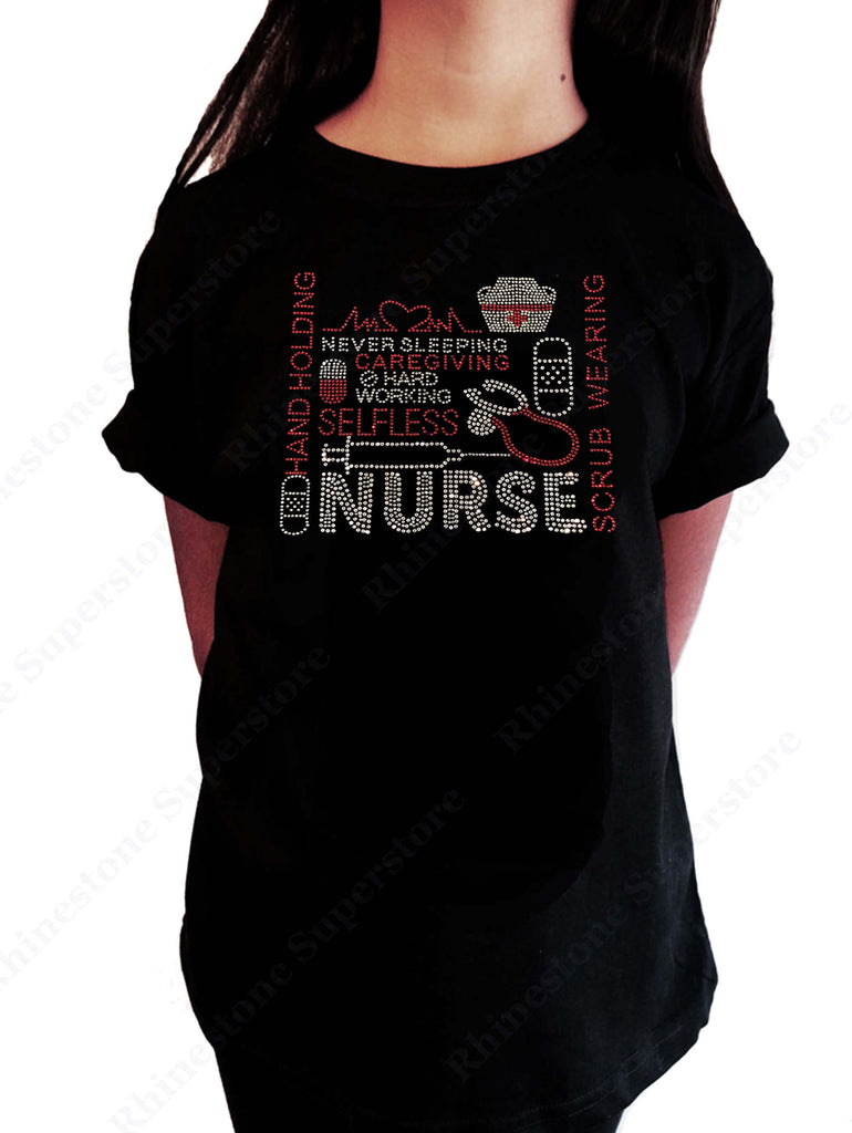 "Girls Rhinestone T-Shirt "" Nurse "" Kids Size 3 to 14 Available"