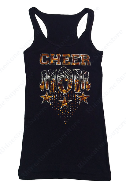 Womens T-shirt with Orange Cheer Mom with Stars in Rhinestones