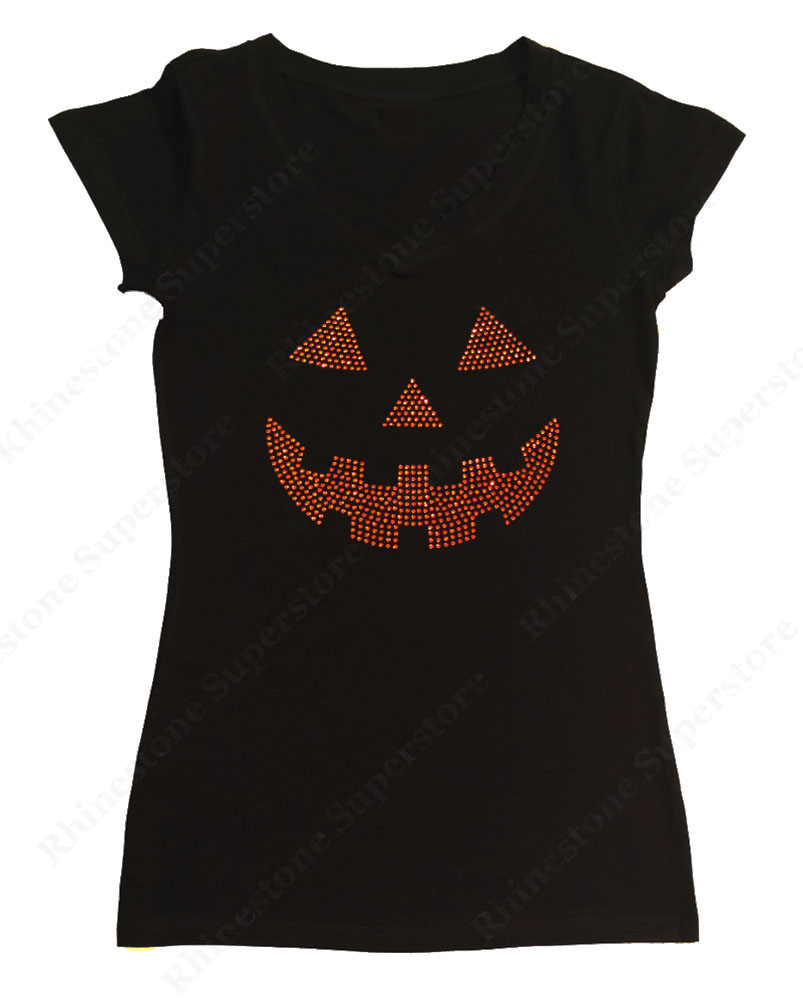 Womens T-shirt with Orange Jack O' Lantern in Rhinestones
