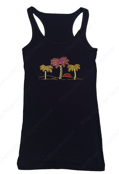 Womens T-shirt with Palm Trees and Sunset in Rhinestuds